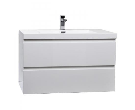 "Buy Angela 35.4"" Wall-Mount Bathroom Vanity in High Gloss White TN-AG900-1-HGW  - Conceptbaths.com Free Shipping"