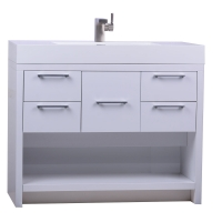 "LODI 40"" Modern Bathroom Vanity High Gloss Whtie Finish TN-L1000-HGW"
