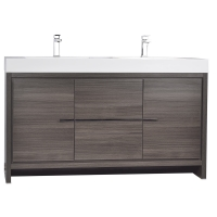 CBI Alice 59 Inch Modern Bathroom Vanity in Grey Oak TN-LA1500-1-GO
