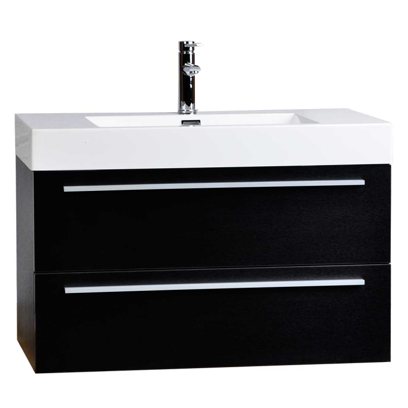 "39.25"" Wall-Mount Contemporary Bathroom Vanity Walnut TN-T1000-BK"