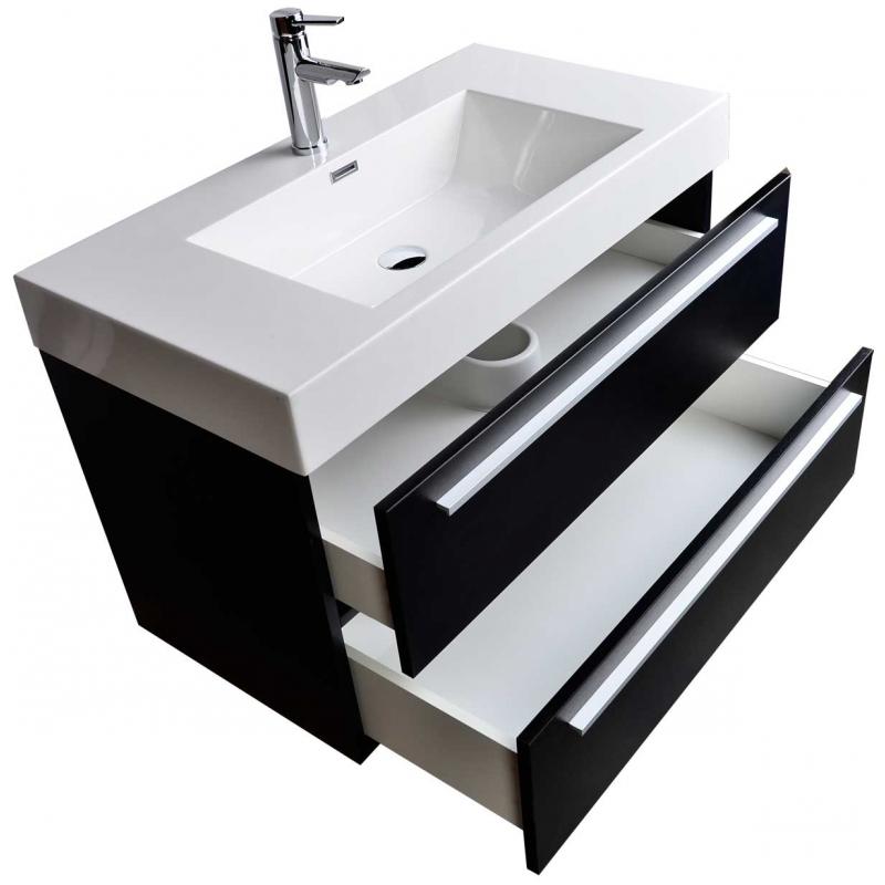 "35.5"" Wall-Mount Contemporary Bathroom Vanity Walnut TN-M900-BK"