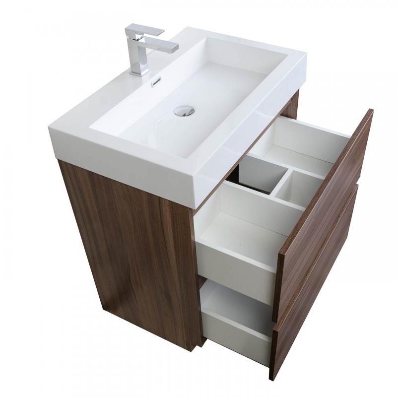 "29.5"" Contemporary Bathroom Vanity Set Grey Oak TN-L750-TK"
