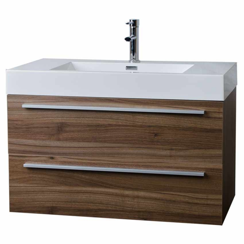 "35.5"" Wall-Mount Contemporary Bathroom Vanity Walnut TN-M900-WN"