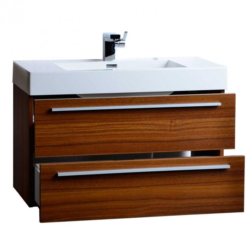 "35.5"" Wall-Mount Contemporary Bathroom Vanity Teak TN-M900-TK"