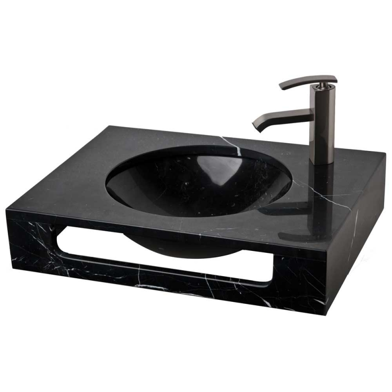 """23.5"""" Black Marquine Natural Stone Wall Mount Vanity Combo Sink LM-T086BM"""