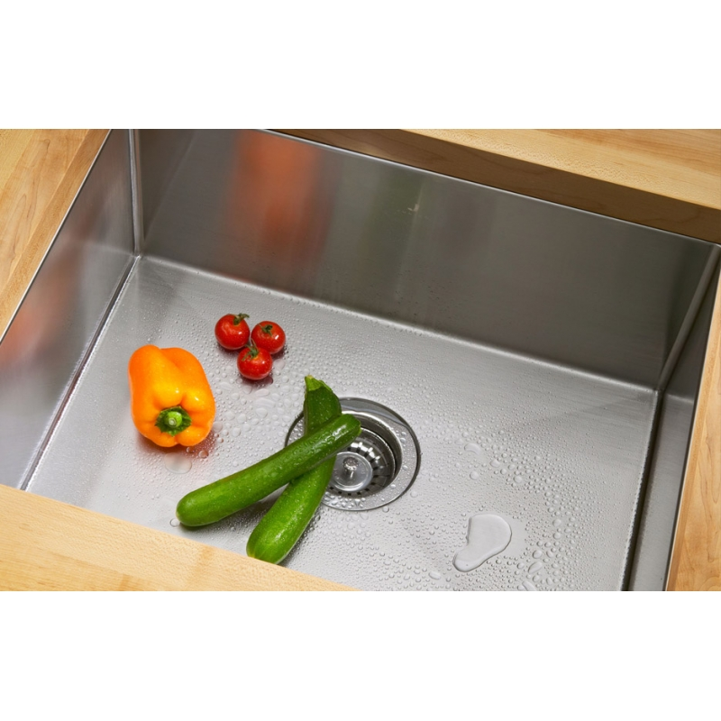 "23"" Zero Radius Stainless Steel Single Well Undermount Sink"