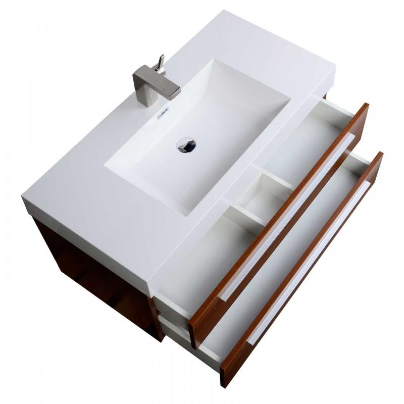 "39.25"" Wall-Mount Contemporary Bathroom Vanity Teak TN-T1000-TK"