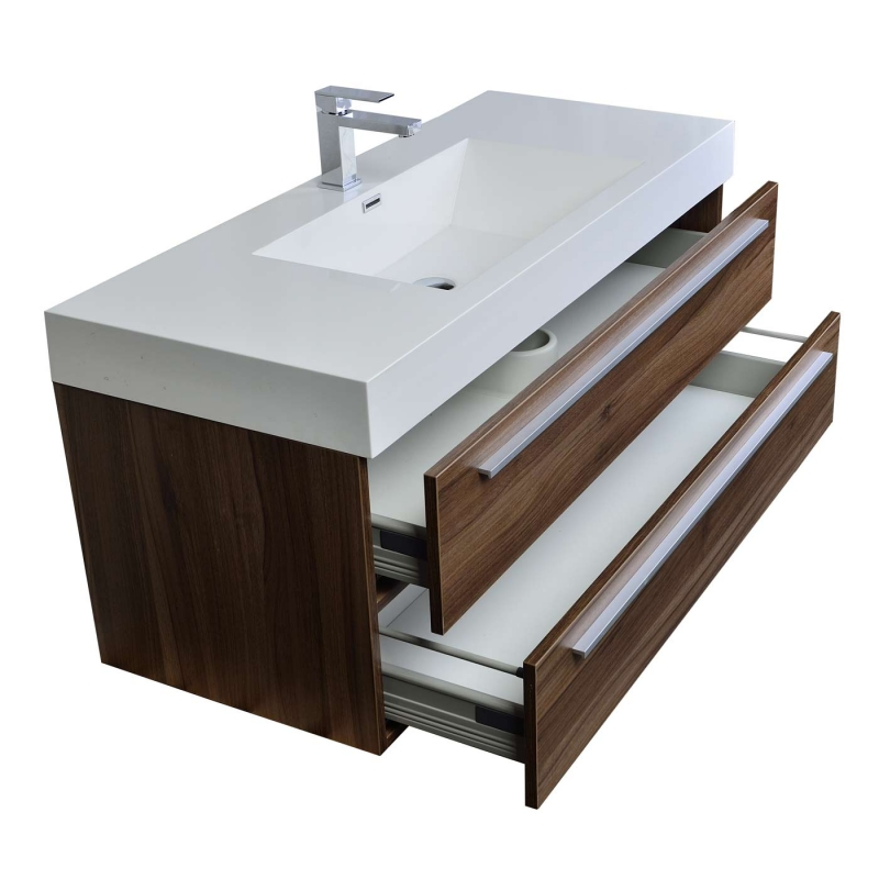 "47"" Wall-Mount Contemporary Bathroom Vanity Walnut Optional Mirror TN-T1200-1-WN"
