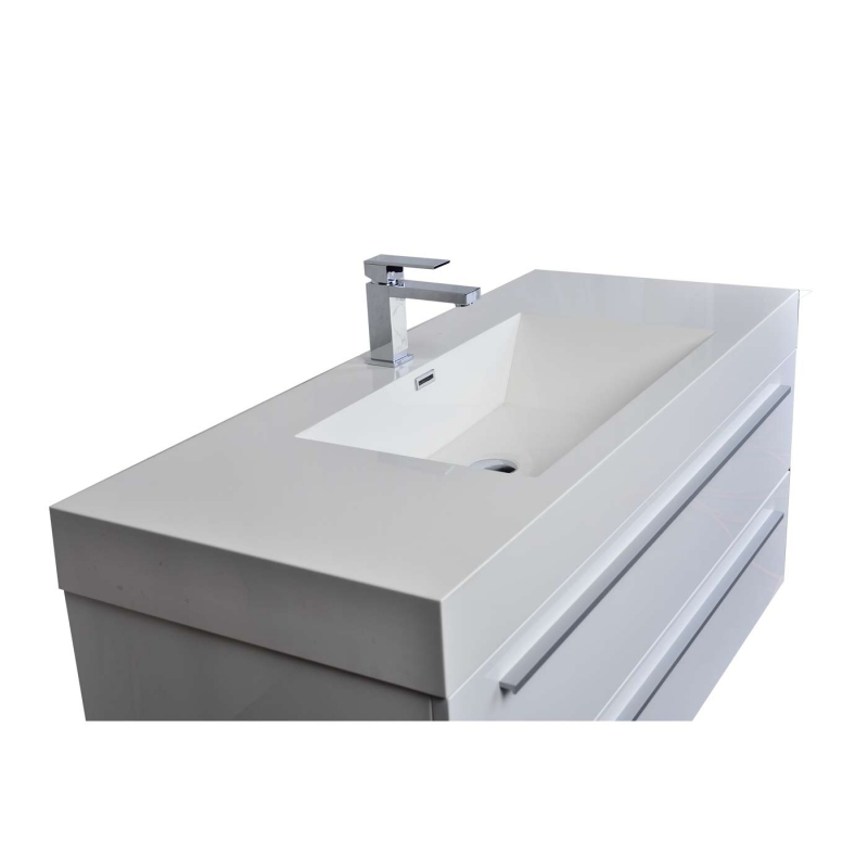 "47"" Wall-Mount Contemporary Bathroom Vanity High Gloss White TN-T1200-1-HGW"