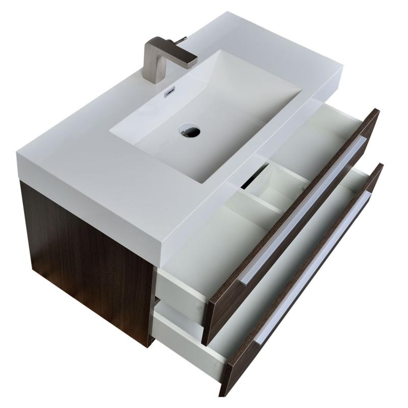 """39.25"""" Wall-Mount Contemporary Bathroom Vanity Grey Oak TN-T1000-GO"""