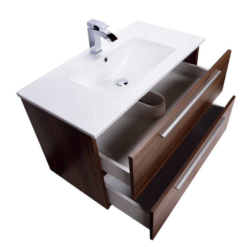 "Nola 35.5"" Wall-Mount Modern Bathroom Vanity Walnut TN-T900C-WN"