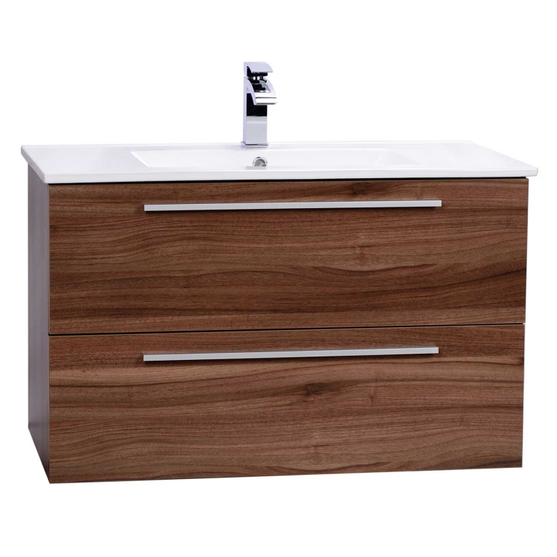 "Nola 35.5"" Wall-Mount Modern Bathroom Vanity Walnut TN-T900C-WN"