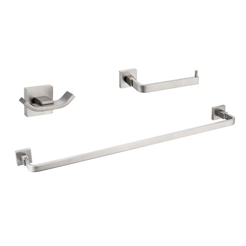 CBI Milano 3 Piece Bathroom Hardware Set in Brushed Nickel AV-BA05-B