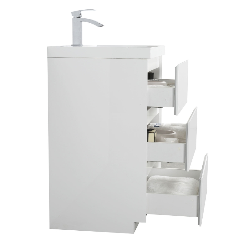 "Edison 23.6"" Single Bathroom Vanity Set in High Gloss White TN-ED600-HGW"