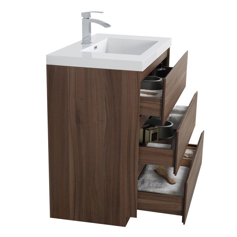 "Edison 35.5"" Single Bathroom Vanity Set in Walnut TN-ED900-WN"