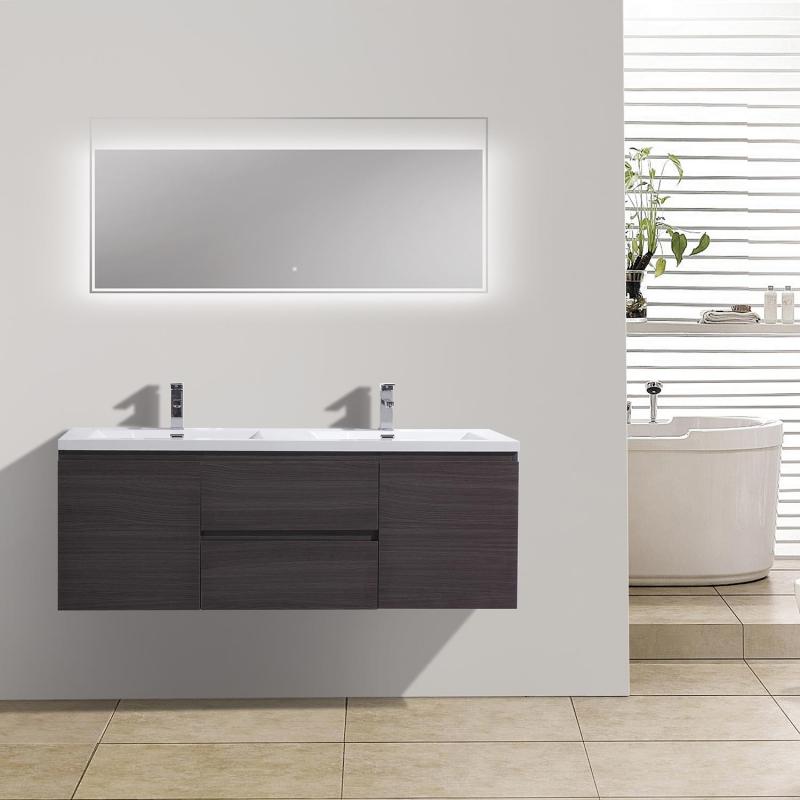"""59"""" Angela Wall Mounted Modern Double Vanity in Char Oak TN-AG1500-1D-CO"""