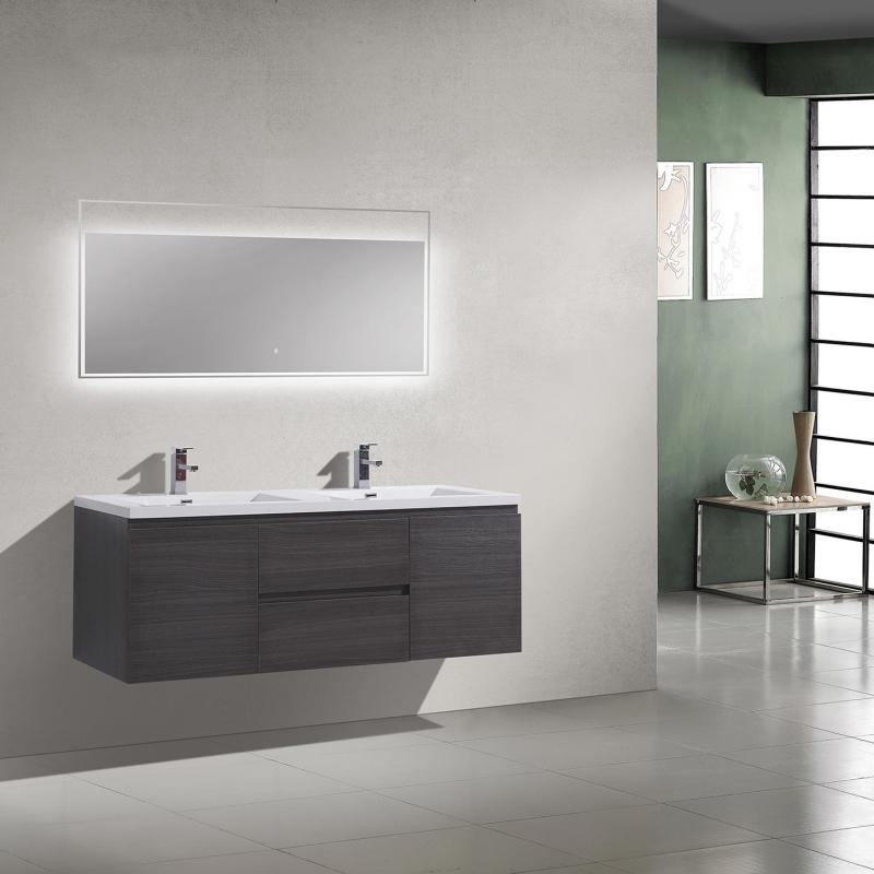Buy 59 Inch Angela Wall Mounted Modern Double Vanity in Char Oak TN-AG1500-1D-CO  | Conceptbaths.com
