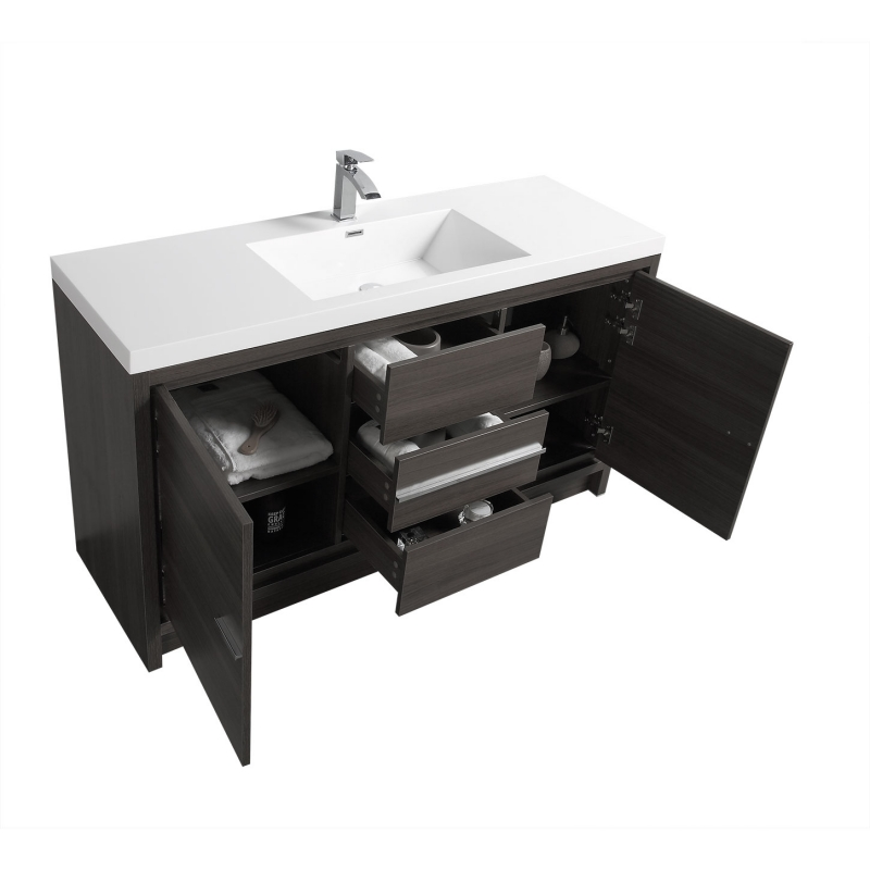 CBI Enna 59 Inch Single Modern Bathroom Vanity in Grey Oak TN-LA1500S-GO