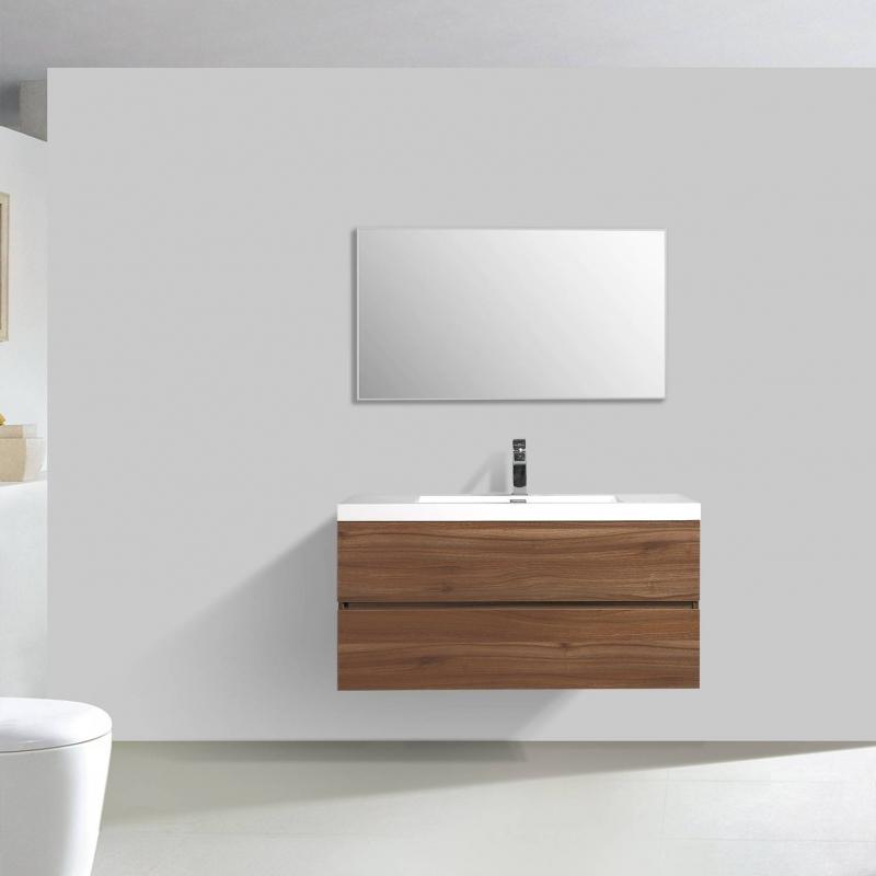 "Angela 41.9"" Wall-Mount Bathroom Vanity Walnut TN-AG1065-1-WN"