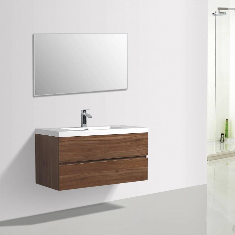 """Buy Angela 41.9"""" Wall-Mount Bathroom Vanity Walnut TN-AG1065-1-WN- Conceptbaths.com Free Shipping"""