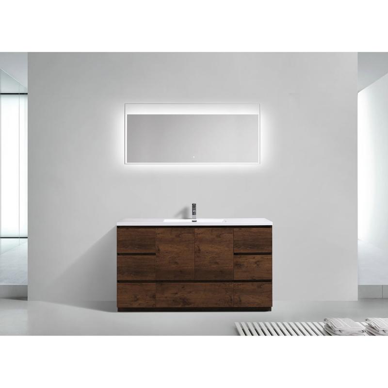 CBI Edison 59 Inch Single Modern Bathroom Vanity Rosewood TN-ED1500S-RW