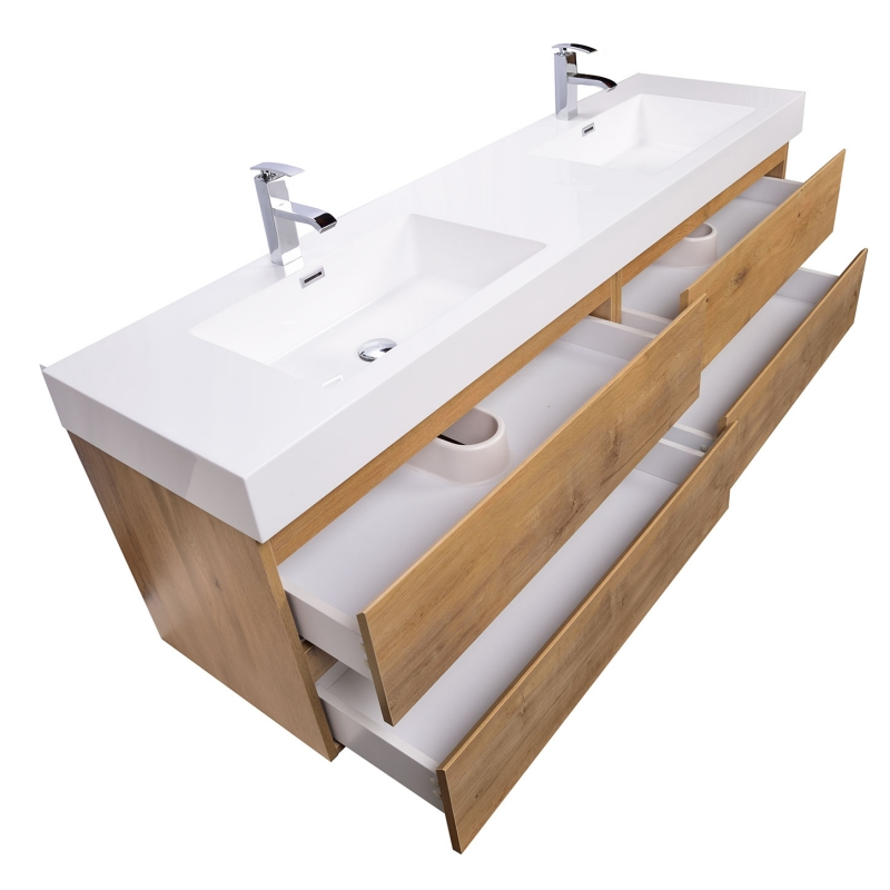 Buy Angela 71 Inch Contemporary Double Wall Mounted Natural Oak TN-AG1810-NO on ConceptBaths.com , FREE SHIPPING
