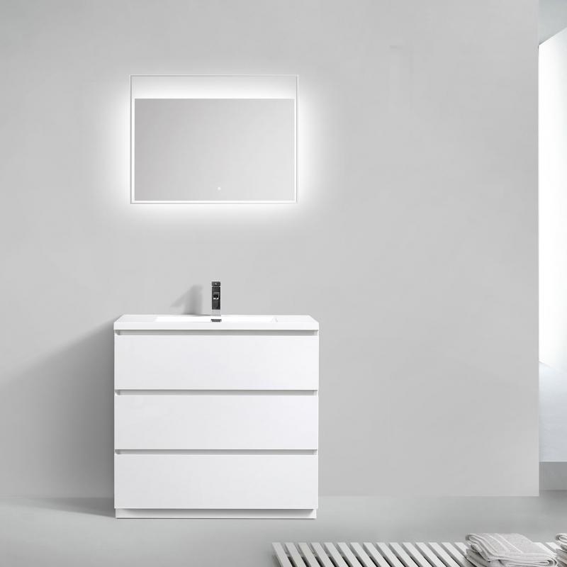 "Edison 35.5"" Single Bathroom Vanity Set Glossy White TN-ED900-HGW"