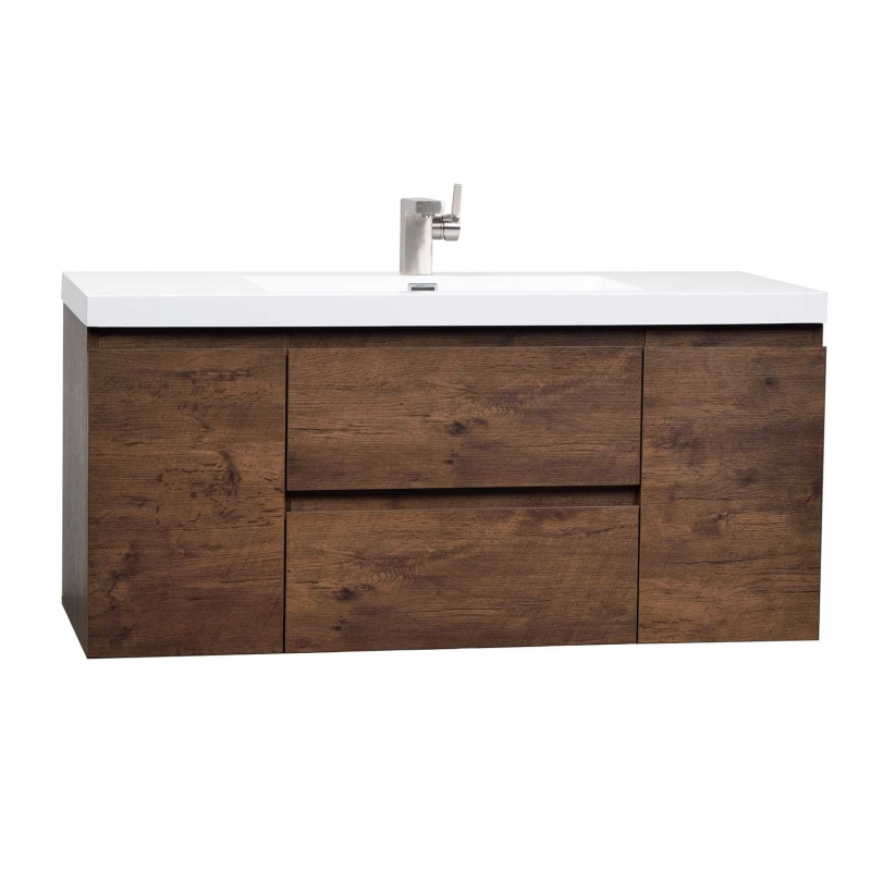 "47"" Angela Wall Mounted Modern Single Vanity Rosewood TN-AG1200-RW"