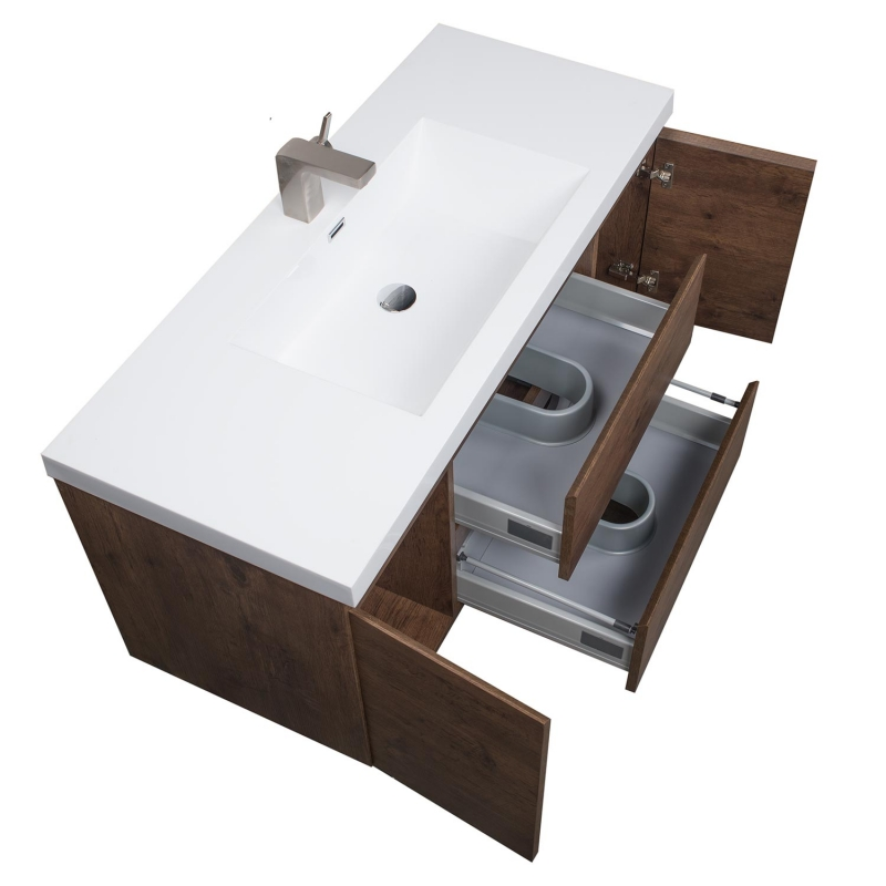 Buy 47 Inch Angela Wall Mounted Modern Single Vanity Rosewood TN-AG1200-RW  | Conceptbaths.com