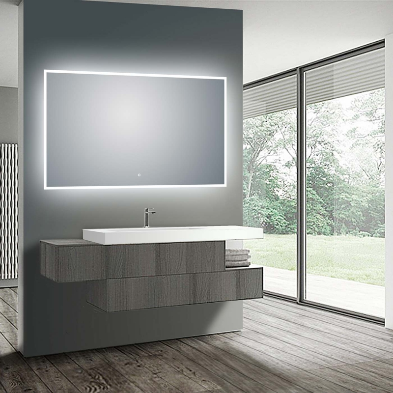 "LED Illuminated Bathroom / Vanity Wall Mirror 41.9"" x 35.5"" LAM-049FLED Illuminated Bathroom / Vanity Wall Mirror 41.9"" x 35.5"" LAM-049F"