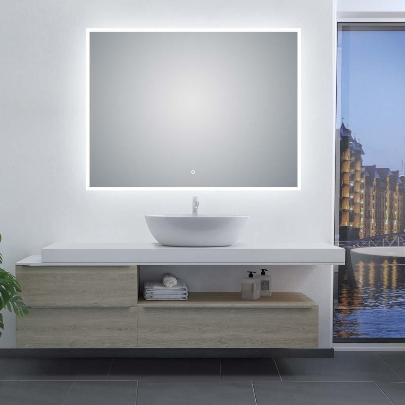 "47.2""W x 35.5""H LED Illuminated Bathroom / Vanity Wall Mirror w Defogger LAM-049E"