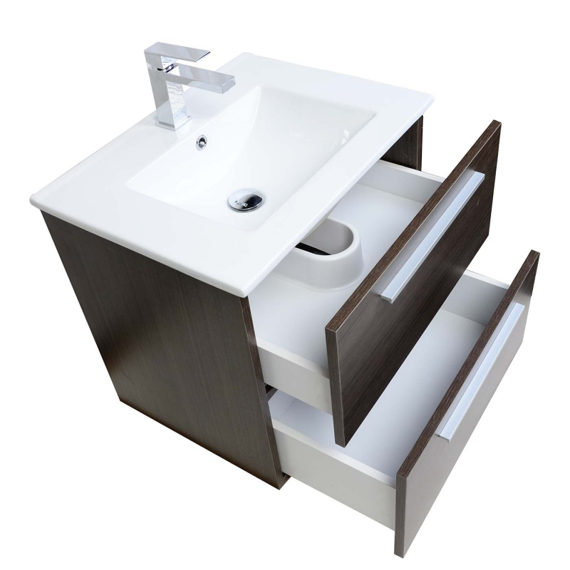 "Nola 23.5"" Wall-Mount Modern Bathroom Vanity Grey Oak TN-T600C-GO"