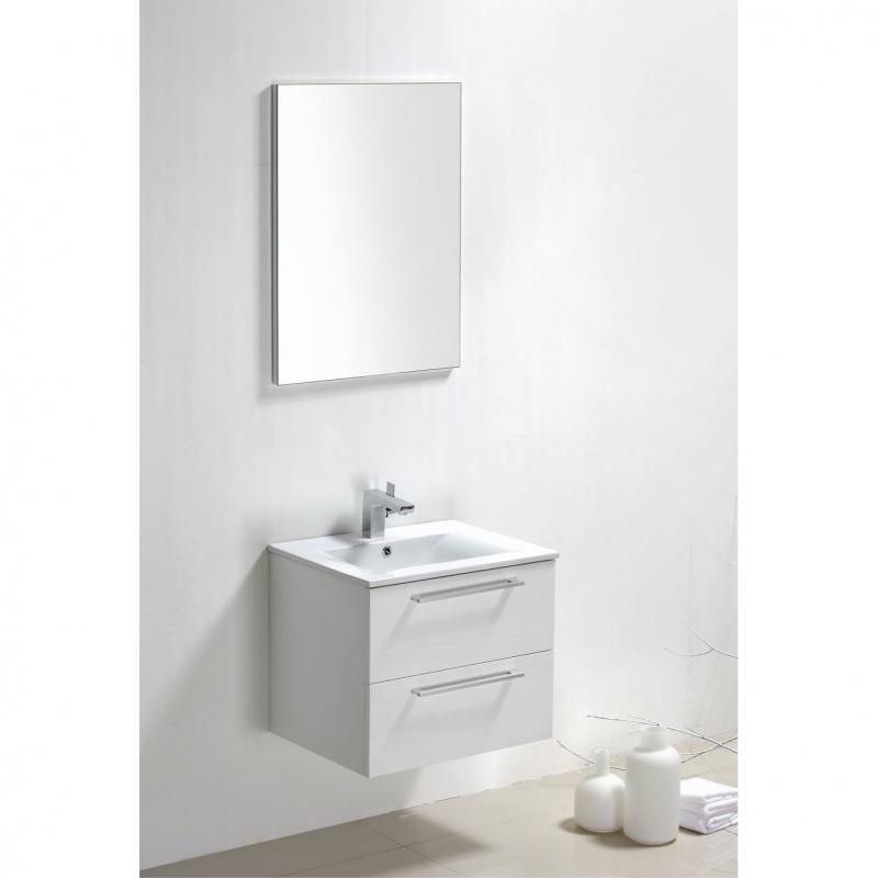 "Caen 24"" Wall-Mount Modern Bathroom Vanity Set High Glossy White Optional Mirror RS-DM600-HGW"