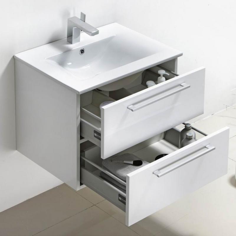 "Caen 24"" Wall-Mount Modern Bathroom Vanity Set High Glossy White Optional Mirror RS-DM800-HGW"