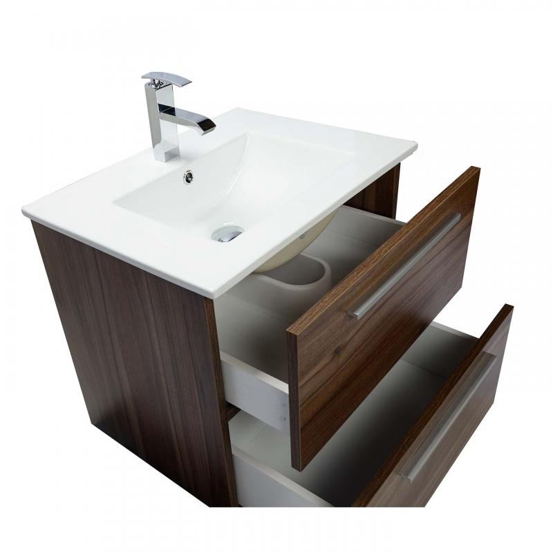 "Nola 24.25"" Wall-Mount Modern Bathroom Vanity Walnut TN-T600C-WN"