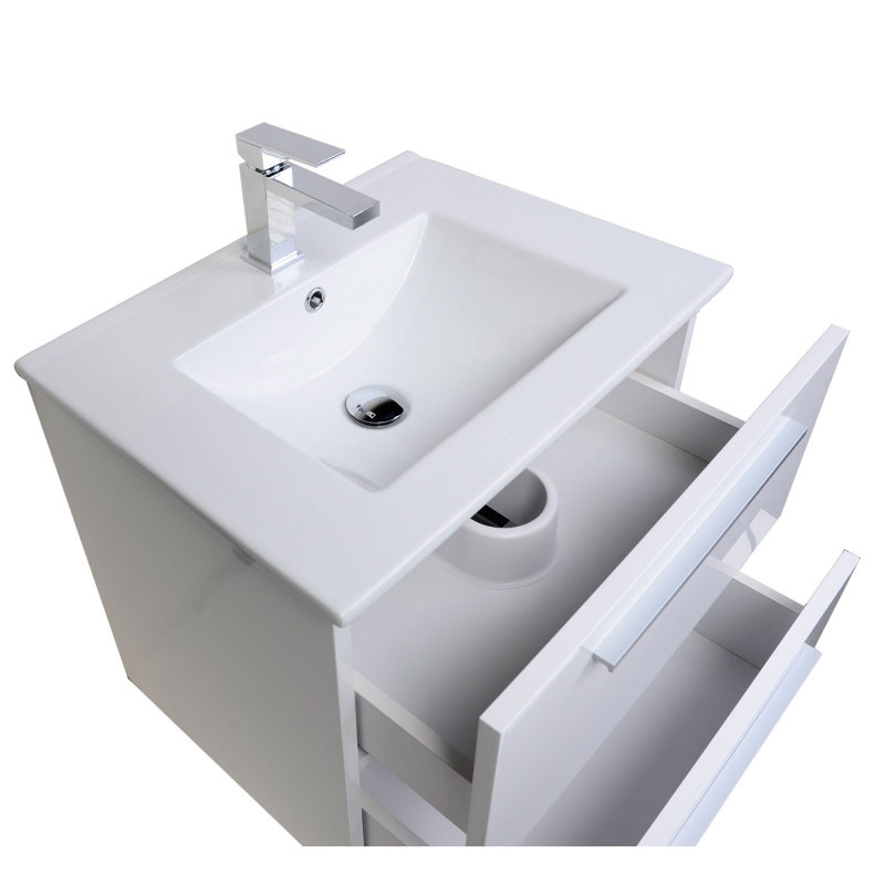 "Nola 23.5"" Wall-Mount Modern Bathroom Vanity Gloss White TN-T600C-HGW"