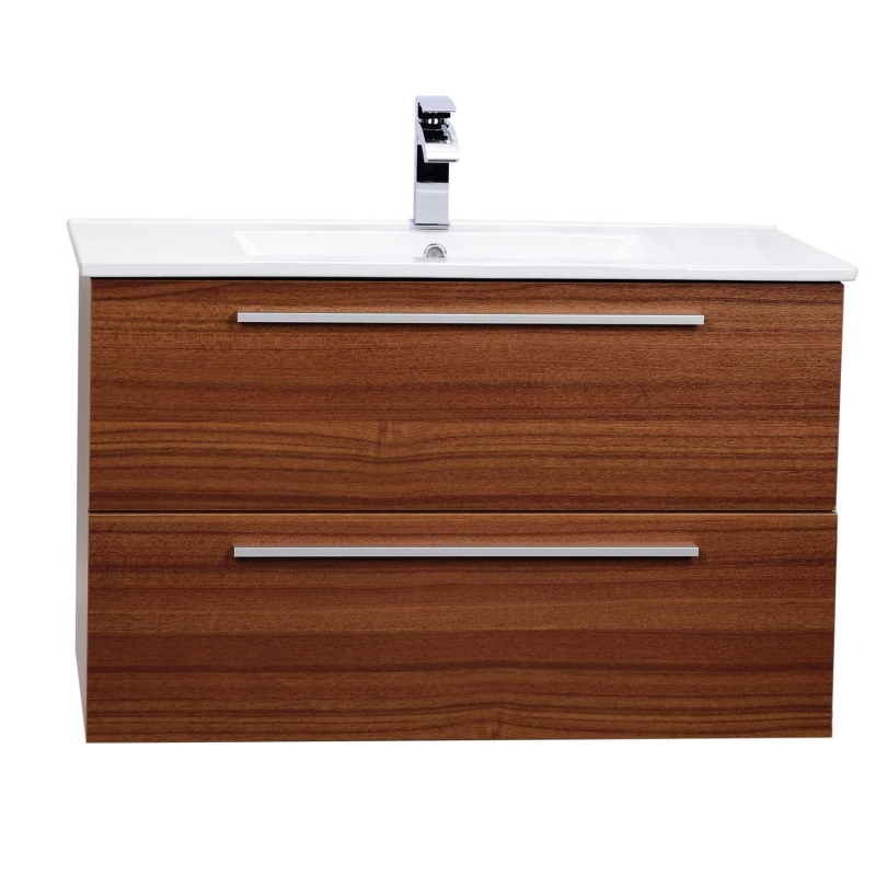 "Nola 35.5"" Wall-Mount Modern Bathroom Vanity Teak TN-T900C-TK"