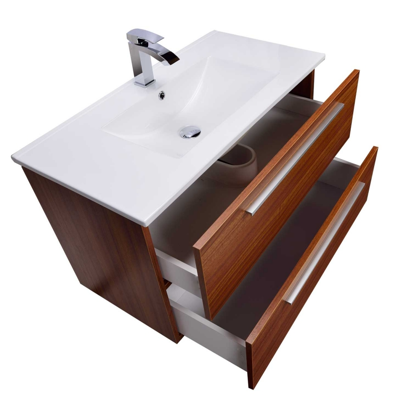 Buy Nola 35.5 Inch Wall-Mount Modern Bathroom Vanity Teak TN-T900C-TK on Conceptbaths.com, FREE SHIPPING