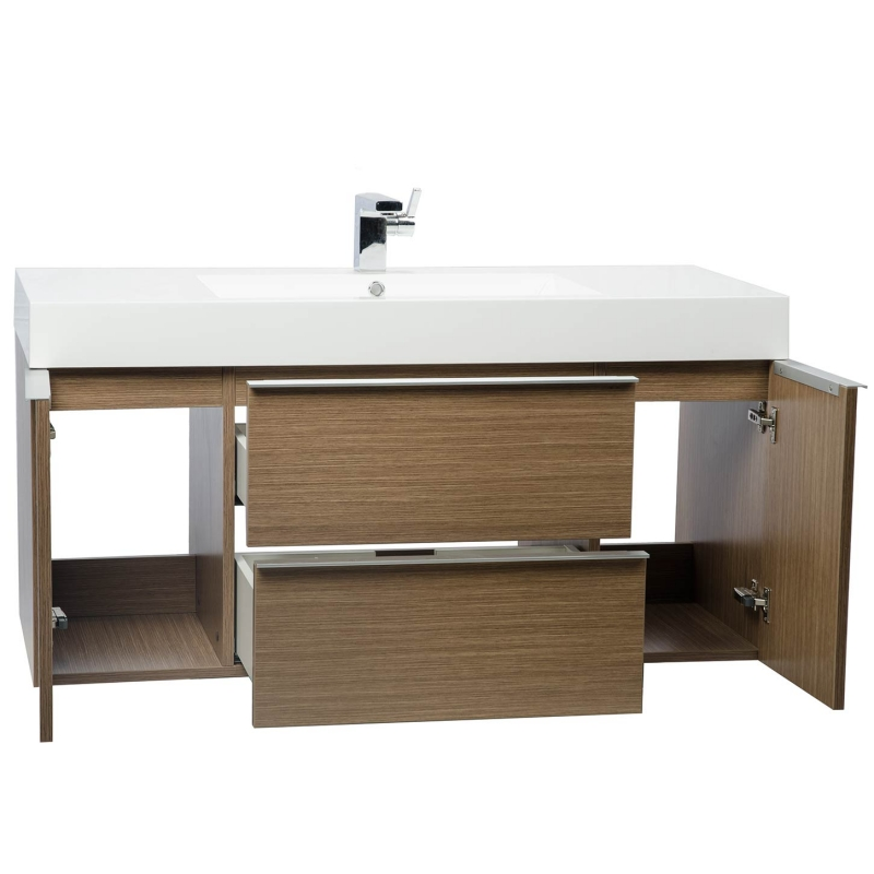 Buy 47.25 Inch  Wall Mount Contemporary Bathroom Vanity  Light Oak RS-R1200-LOK - Conceptbaths.com
