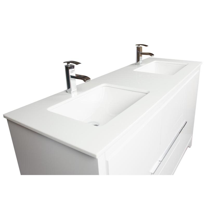 CBI Enna 59 Inch Modern Bathroom Vanity in White TN-LA1510-MW