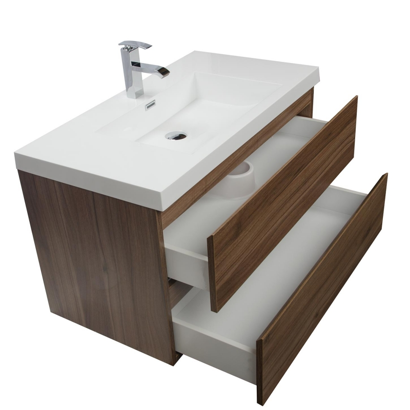 "Angela 35.5"" Wall-Mount Bathroom Vanity in Walnut TN-AG900-WN"