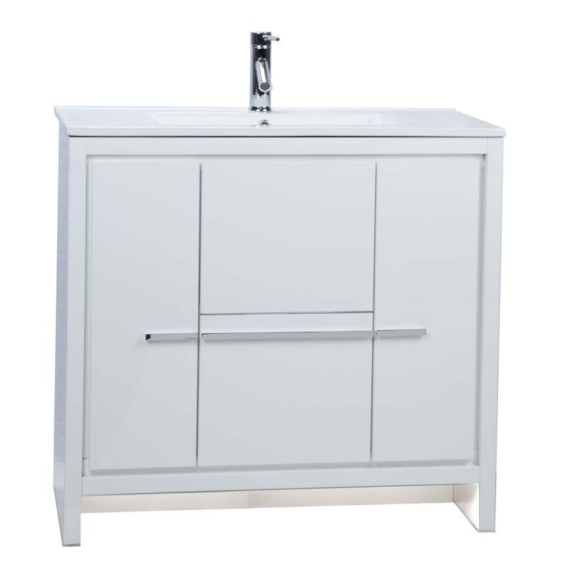 CBI Enna 36 Inch Modern Bathroom Vanity High Gloss White TN-LA900-HGW