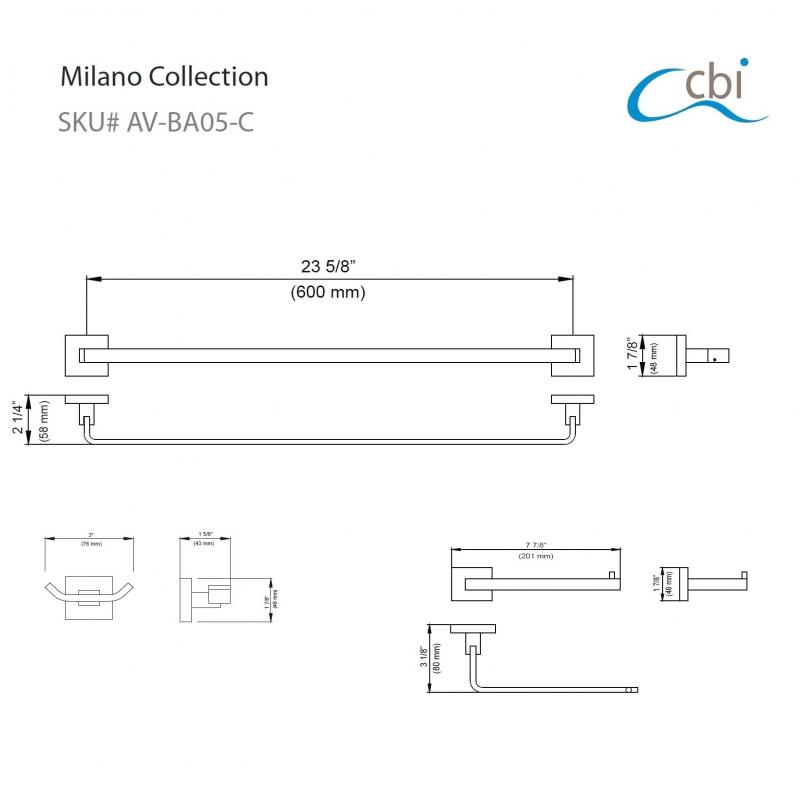 CBI Milano 3 Piece Bathroom Hardware Set in Chrome